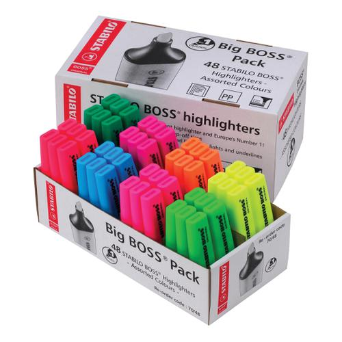 Stabilo Boss Highlighters Chisel Tip 2-5mm Line Assorted 8 Colours Ref UK/70/48-2 [Pack 48]