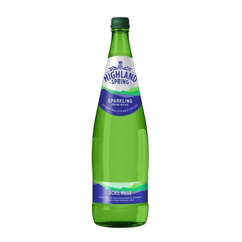 Highland Spring Sparkling Mineral Water Bottle Glass 1 Litre Ref 21103 [Pack 12]