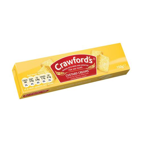 Crawfords Custard Cream Biscuits 150g Ref UTB001 [Pack 12]
