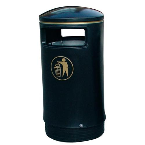 Outdoor Hooded Top Bin 110 Litres Easy Clean Black and Gold