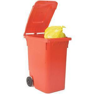 Wheelie Bin High Density Polyethylene with Rear Wheels 80 Litre Capacity 445x525x930mm Red