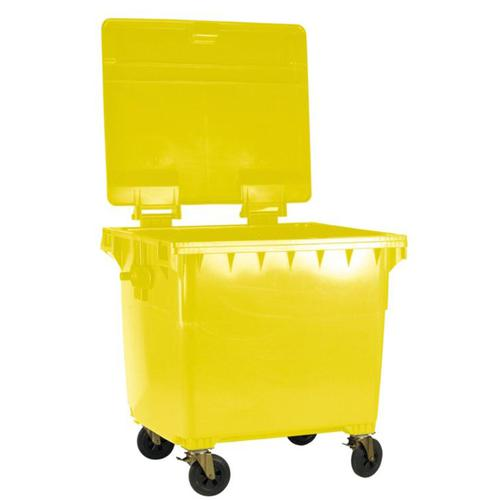 Four Wheeled Bin UV Stabilised Polyethylene 770 Litres 55kg 1350x770x1360mm Yellow