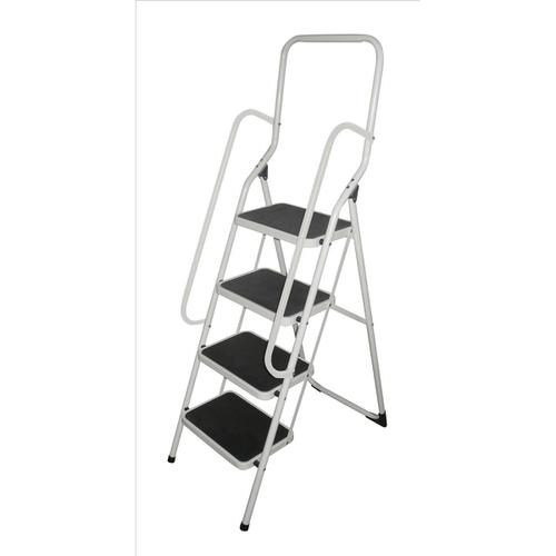 Metal Step Stool with Handrail 4 Step Folding Capacity 150kg White