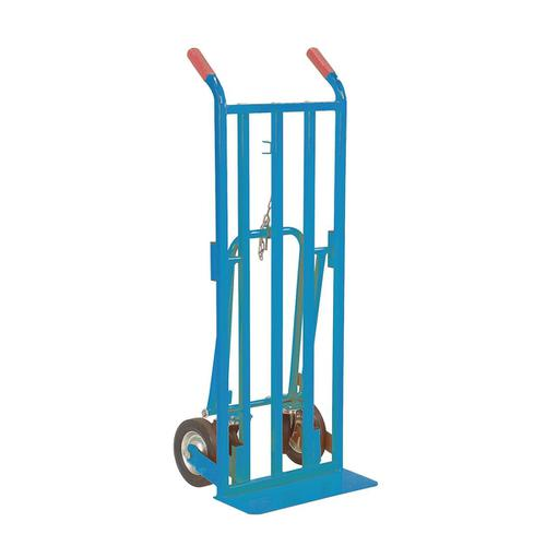 Hand Truck 3 Position Steel Frame Double Rear Castors Capacity 200kg Blue