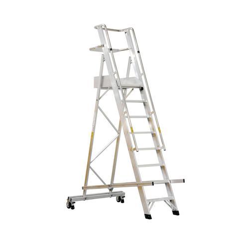 Warehouse Ladder Mobile Folding 10 Tread Aluminium