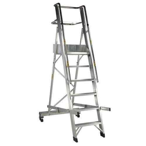 Warehouse Ladder Mobile Folding 6 Tread Aluminium