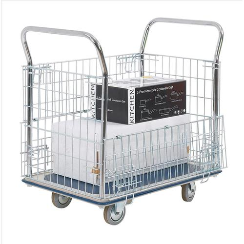 Platform Trolley with Chrome Plated Mesh Panels Capacity 300kg 615x1000x950mm Silver