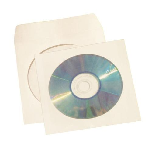 5 Star Office Ungummed Sleeve for CD/DVD with Window White [Pack 50]