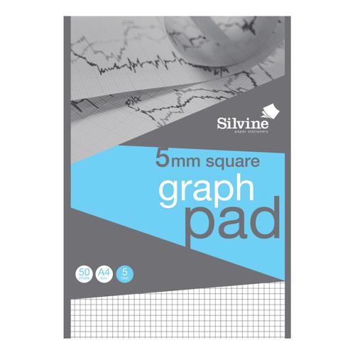 Silvine Student Graph Pad 90gsm 5mm Quadrille 50 Sheets A4 Ref A4GPX [Pack 10]