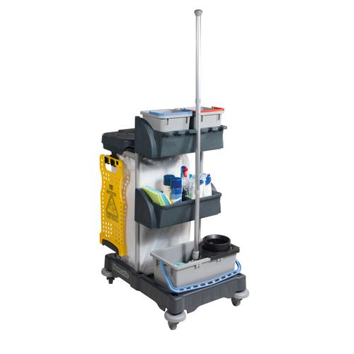 Numatic Xtra-Compact XC-1 Cleaning Trolley with 3 Buckets and 2 Tray Units W840xD570xH1060mm Ref 907440