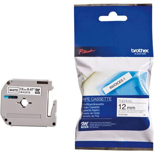 Brother P-Touch M-K231SBZ 12mmx4m BlackOnWhite Plastic Labelling Tape Ref MK231SBZ *3to5 Day Leadtime*