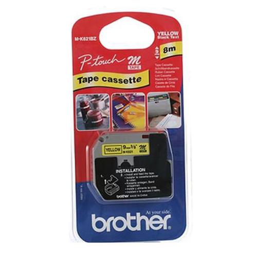 Brother P-Touch M-K621BZ 9mmx8m BlackOnYellow Non Lam Labelling Tape Ref MK621BZ *3to5 Day Leadtime*