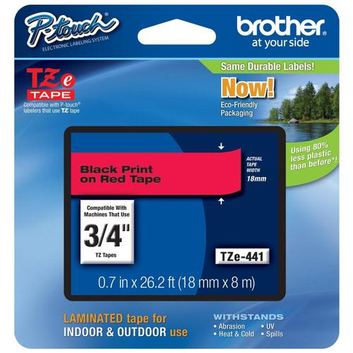 Brother P-Touch TZe-441 18mmx8m Black On Red Laminated Labelling Tape Ref TZE441 *3to5 Day Leadtime*