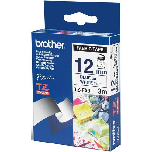 Brother P-Touch TZe-FA3 12mmx3m Blue On White Fabric Tape Ref TZEFA3 *3to5 Day Leadtime*
