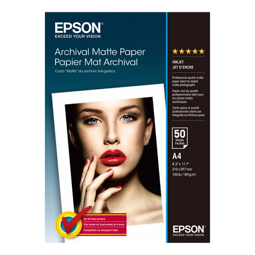 Epson A4 Archival Matte Paper 50 Sheets 192gsm White Ref C13S041342 *3 to 5 Day Leadtime*