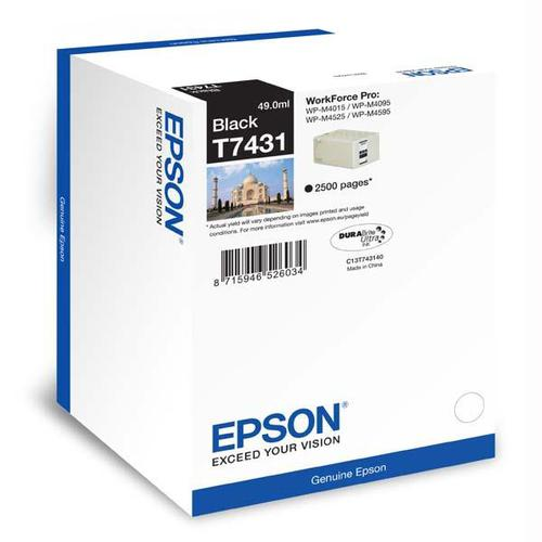 Epson T7431 Inkjet Cartridge 2500pp 49ml Black Ref C13T74314010 *3to5 Day Leadtime*