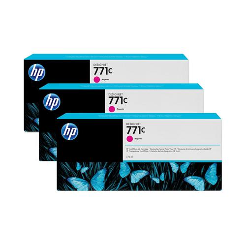 HP 771C 775ml Magenta Ink Cartridges 3-Pack Ref B6Y33A *3 to 5 Day Leadtime*
