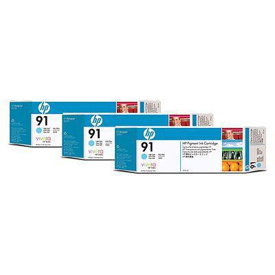 Hewlett [HP] No.91 Inkjet Cartridge 775ml Light Cyan Ref C9486A [Pack 3] *3to5 Day Leadtime*
