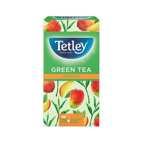 Tetley Individually Enveloped Tea Bags Green Tea & Mango Ref 1578a [Pack 25]