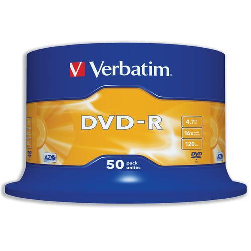 Verbatim DVD-R 4.7GB 16X Spindle Ref 43548 [Pack 50]