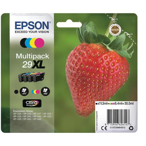 Epson29XLIJCartStrawberry HY P/L 470ppBlk 11.3ml450pp 6.4ml Cyan/Magenta/Yellow Ref C13T29964012 [Pack 4]