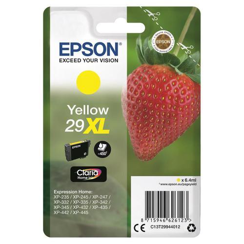 Epson 29XL InkJet Cartridge Strawberry High Yield Page Life 450pp 6.4ml Yellow Ref C13T29944012