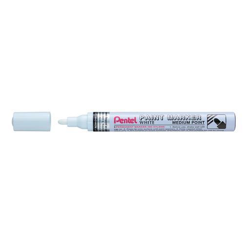 Pentel Permanent Paint Marker Bullet Tip Medium 3.0mm Line White Ref MMP10-W [Pack 12]
