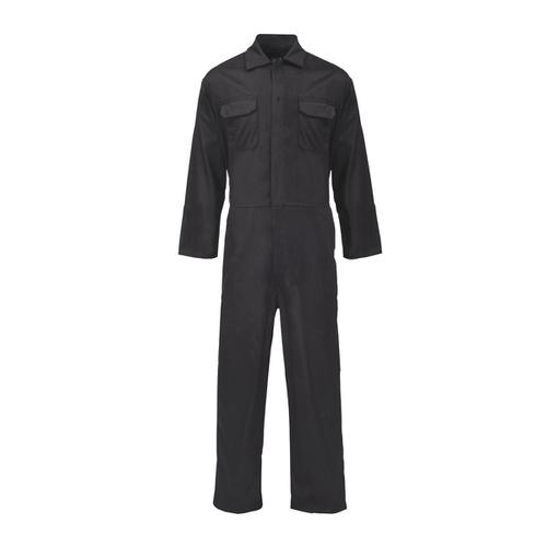 Coverall Basic with Popper Front Opening Polycotton Large Black Ref RPCBSBL44 *Approx 3 Day Leadtime*
