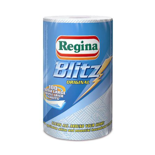 Regina Blitz Kitchen Towel No Smears Recycled Pure Pulp 100 Sheets per Roll White Ref 1105179