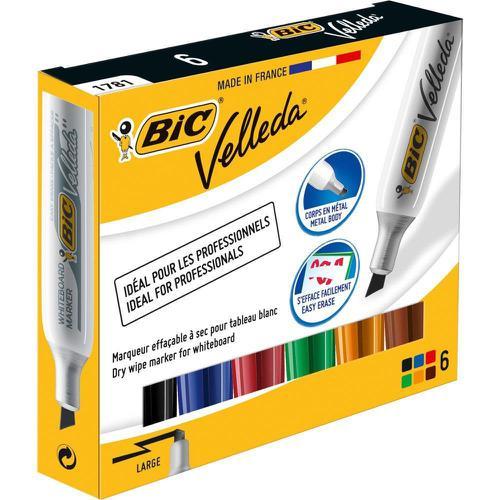 Bic Velleda 1781 Acrylic Chisel Tip Whiteboard Marker 3.2-5.5mm Width Assorted Ref 875788 [Wallet 6]