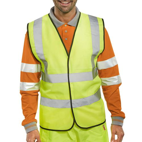 Bseen High Visibility Waistcoat Full App 2XL Yellow/Black Piping Ref WCENGXXL *Up to 3 Day Leadtime*