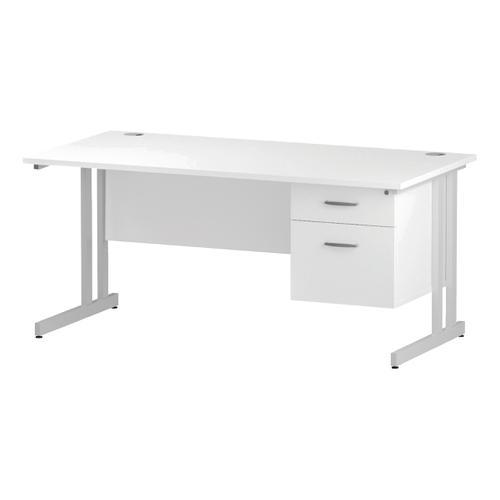 Trexus Rectangular Desk White Cantilever Leg 1600x800mm Fixed Pedestal 2 Drawers White Ref I002211