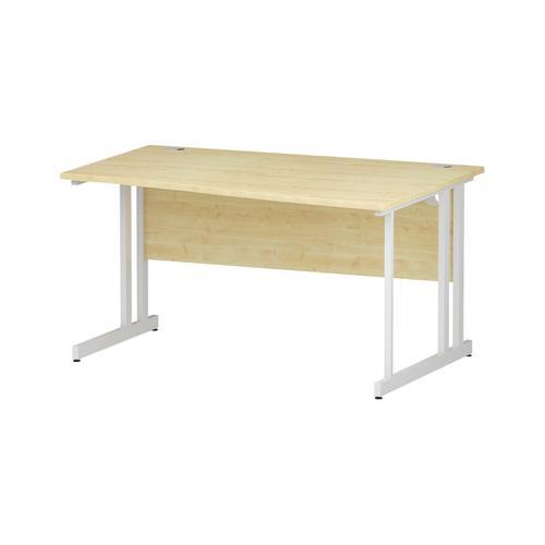Trexus Wave Desk Right Hand White Cantilever Leg 1400mm Maple Ref I002568