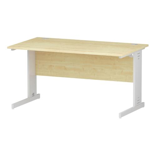 Trexus Rectangular Desk White Cable Managed Leg 1400x800mm Maple Ref I002498