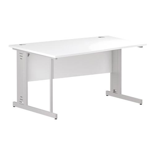 Trexus Wave Desk Left Hand White Cable Managed Leg 1400mm White Ref I002345