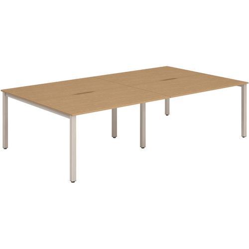 Trexus Bench Desk 4 Person Back to Back Configuration Silver Leg 2400x1600mm Oak Ref BE258