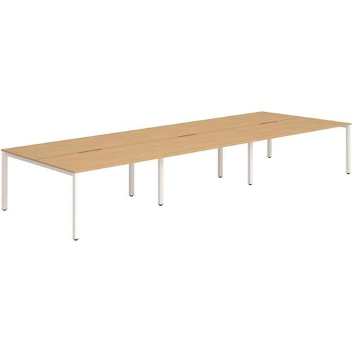 Trexus Bench Desk 6 Person Back to Back Configuration White Leg 3600x1600mm Beech Ref BE287