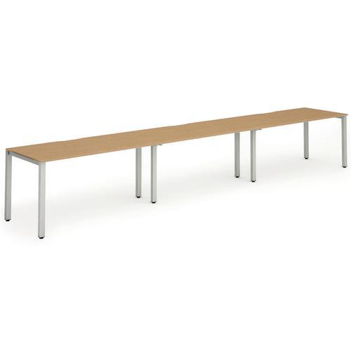 Trexus Bench Desk 3 Person Side to Side Configuration Silver Leg 4800x800mm Oak Ref BE408
