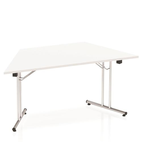 Sonix Trapezoidal Chrome Leg Folding Meeting Table 1600x800mm White Ref I000711