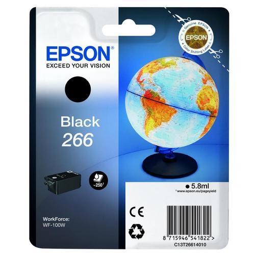 Epson T266 Inkjet Cartridge Globe Page Life 250pp 5.8ml Black C13T26614010