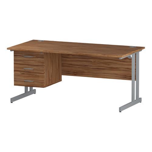 Trexus Rectangular Desk Silver Cantilever Leg 1600x800mm Fixed Pedestal 3 Drawers Walnut Ref I001929