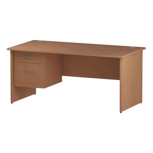 Trexus Rectangular Desk Panel End Leg 1600x800mm Fixed Pedestal 2 Drawers Beech Ref I001735