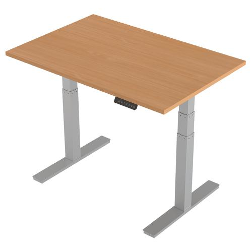 Trexus Sit-Stand Desk Height-adjustable Silver Leg Frame 1200/800mm Beech Ref HA01001