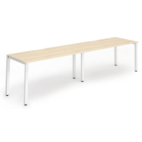 Trexus Bench Desk 2 Person Side to Side Configuration White Leg 2800x800mm Maple Ref BE351