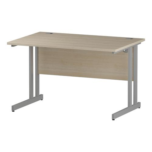 Trexus Rectangular Desk Silver Cantilever Leg 1200x800mm Maple Ref I000349