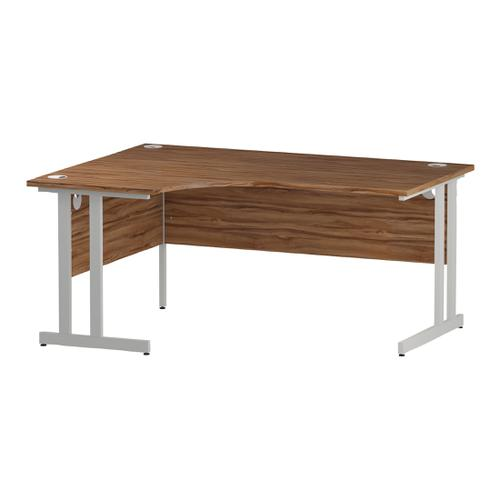 Trexus Radial Desk Left Hand White Cantilever Leg 1600mm Walnut Ref I002134