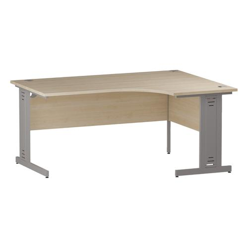 Trexus Radial Desk Right Hand Silver Cable Managed Leg 1600/1200mm Maple Ref I000530