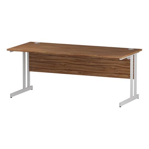 Trexus Rectangular Desk White Cantilever Leg 1800x800mm Walnut Ref I001908