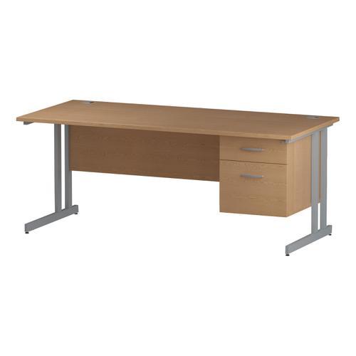 Trexus Rectangular Desk Silver Cantilever Leg 1800x800mm Fixed Pedestal 2 Drawers Oak Ref I002660
