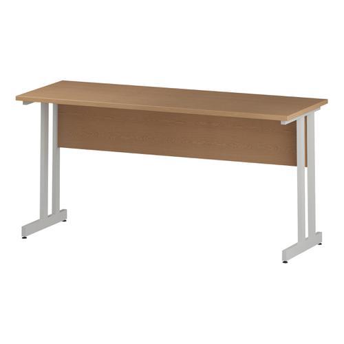 Trexus Rectangular Slim Desk White Cantilever Leg 1600x600mm Oak Ref I002655